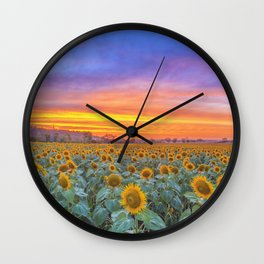 Sunsets and Sunflowers Wall Clock