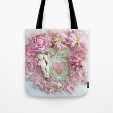 Pink Shabby Chic Peony Love Heart Floral Prints - Shabby Chic Peony Home Decor Tote Bag