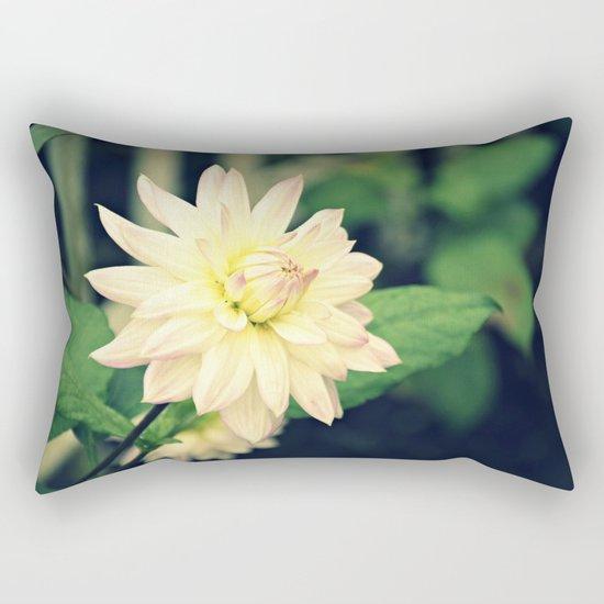 White dahlia retro Rectangular Pillow