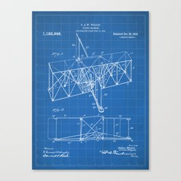 Wright Brother's Machine Patent - Airplane Art - Blueprint Canvas Print
