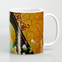 surfboard Mugs featuring Surfboard with flowers  by nicky2342