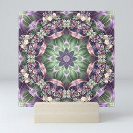 Fractal Ribbon Mandala in Purple, Green, Pink and Yellow Mini Art Print