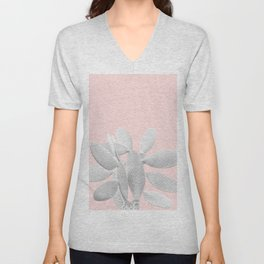 White Blush Cacti Vibes #1 #plant #decor #art #society6 Unisex V-Neck