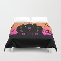 haunted mansion Duvet Covers featuring Haunted Silhouette Rainbow Mansion by rainbowdreams