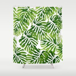 Tropical Leaves - Green Shower Curtain