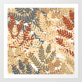 Autumn Botanical Fern Leaf Pattern Art Print