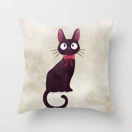 Kiki's delivery service - Jiji illustration - Miyazaki, Studio Ghibli Throw Pillow