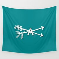 arrow Wall Tapestries featuring Arrow by Amy Mancini