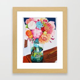 Flowers in a vase - Watercolour painting Framed Art Print