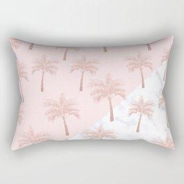 Elegant rose gold glitter palm pattern, white marble & pink Rectangular Pillow