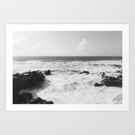 Vintage film style Black and white coast. Art Print