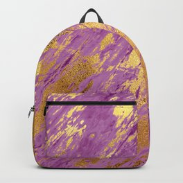 Purple Faux Marble With Bling Gold Glitzy Veins Backpack