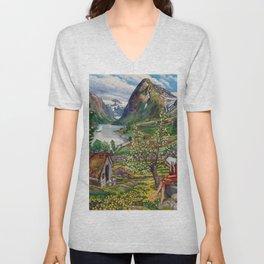 Alpine Lake Landscape, 'Girl, Springtime & Marigolds' by Nikolai Astrup Unisex V-Neck