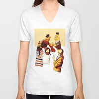 muppets V-neck T-shirts featuring Bert & Ernie Muppets by joshuahillustration