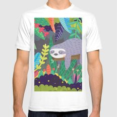 Sloth in nature Mens Fitted Tee White LARGE