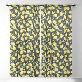 You're the Zest - Lemons on Black Sheer Curtain
