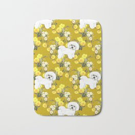 Bichon Frise on Yellow Rose Floral Autumn Gold Bath Mat