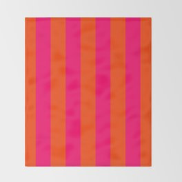 Bright Neon Pink and Orange Vertical Cabana Tent Stripes Throw Blanket