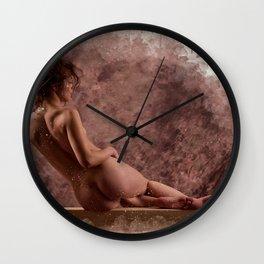 Nude woman watercolor vintage Wall Clock