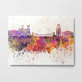 Bristol skyline in watercolor background Metal Print