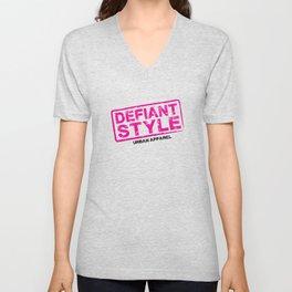 Defiant Style Logo [Pink/Black] Unisex V-Neck