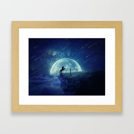 How to tame a unicorn? (night scene) Framed Art Print
