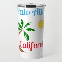 Palo Alto California Palm Tree and Sun Travel Mug