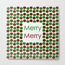 Merry Merry with Red and Green Dots Metal Print