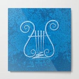 Blue Lyre Metal Print