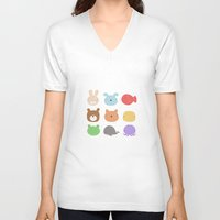 stickers V-neck T-shirts featuring Animal Stickers by xiuen