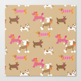 Walkies, Poodles, Sausage dogs and Terriers Canvas Print