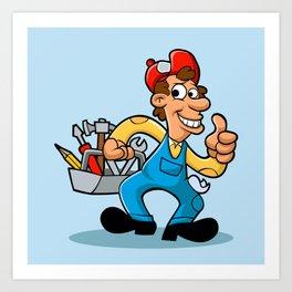 handyman holding  tool box Art Print