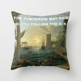 Seaport with the Embarkation of the Sun Throw Pillow