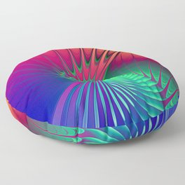 Outburst Spiral Fractal neon colored Floor Pillow