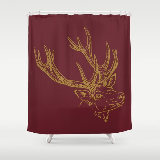 Deer Burgundy Gold Shower Curtain By Beautiful Homes Society6