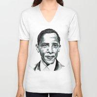 obama V-neck T-shirts featuring Obama by Bridget Davidson