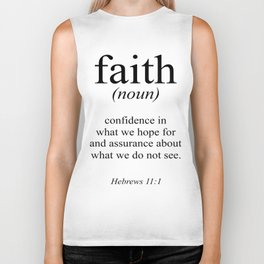 Hebrews 11:1 Faith Definition Black & White, Bible verse Biker Tank