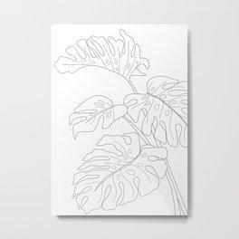 Line Art Monstera Leaves Metal Print
