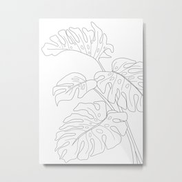 Line Art Monstera Leaves Metal Print