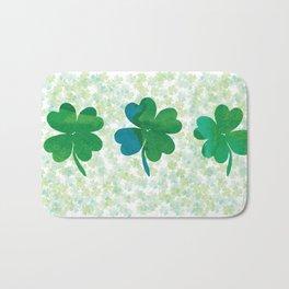 Lucky Watercolor Clovers Bath Mat