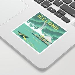 Vintage Mid Century Modern Iceland Scandinavian Travel Poster Ocean Whale Winter Village Sticker