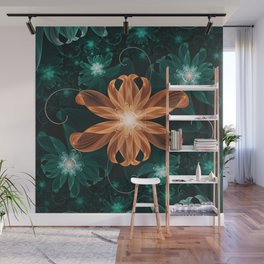 Alluring Turquoise and Orange Tiger Lily Flower Wall Mural