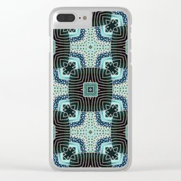 Squares Pattern in Teal and Green Clear iPhone Case