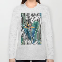 Combined strelitzia pattern Long Sleeve T-shirt