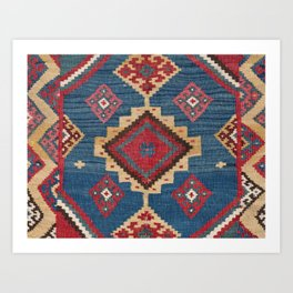 Vintage Woven Kilim II // 19th Century Colorful Royal Blue Yellow Authentic Classic Ornate Accent Pa Art Print