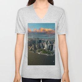 Aerial view of lower Manhattan, New York City Unisex V-Neck
