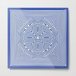 3d Tribal African Pattern Blue Metal Print