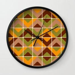 Retro 70s diamond tiles upholstery fabric orange, brown Wall Clock