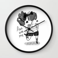 run Wall Clocks featuring Run by Doodleby