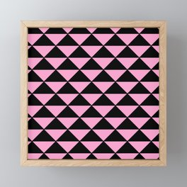 Graphic Geometric Pattern Minimal 2 Tone Infinity Triangles (Pastel Pink & Black) Framed Mini Art Print